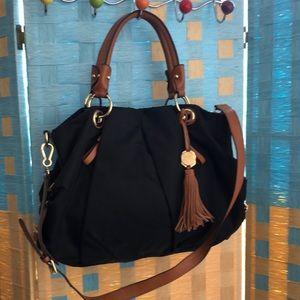 Vince Camuto leather Trim  cross body satchel bag